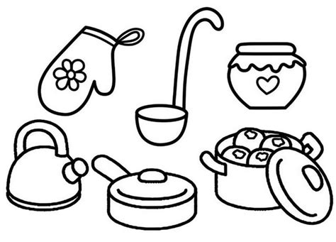 kitchen cooking utensils  tools dining coloring page