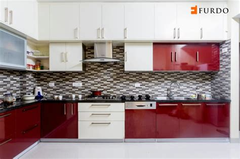 shape kitchen  red white cabinets  furdocom