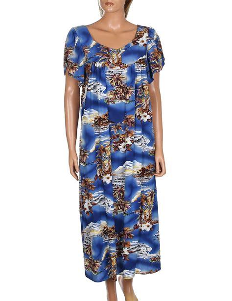 blue hawaii midi muumuu dress  tulip sleeves shaka