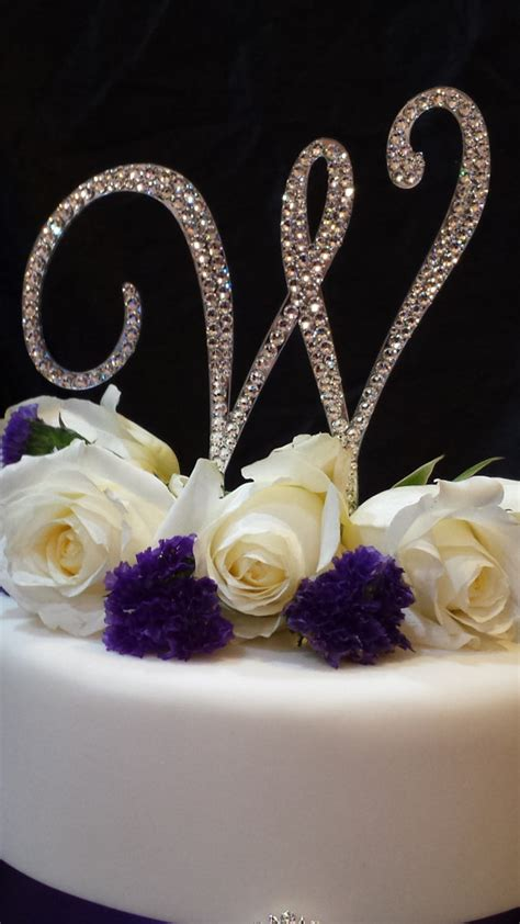 tall initial monogram wedding cake topper swarovski crystal rhinestone letter