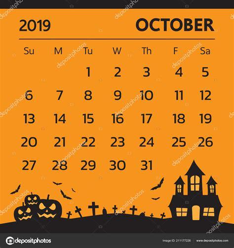 calendar october  halloween theme vector stock