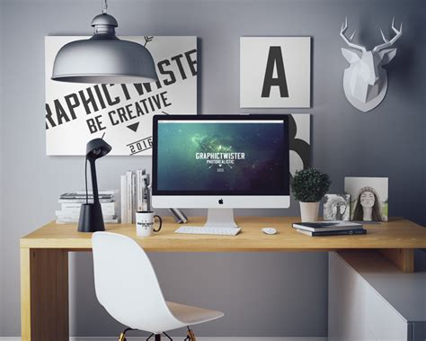 imac mockup office set
