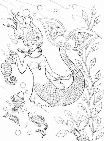 Mermaid Coloring Pages Realistic Detailed Merman Mermaids