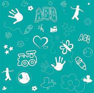Kid's Playful Background Pattern And Shapes Drawing by ...