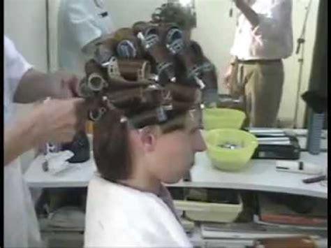 brunette   stylist hair wet set rollers  makeover