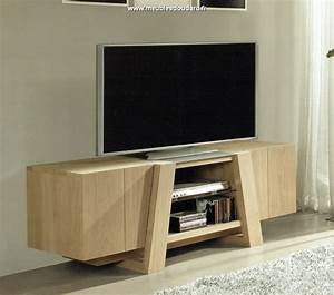Meuble Tv Chene Massif Moderne : meuble tv ch ne moderne meuble t l moderne en bois ~ Teatrodelosmanantiales.com Idées de Décoration