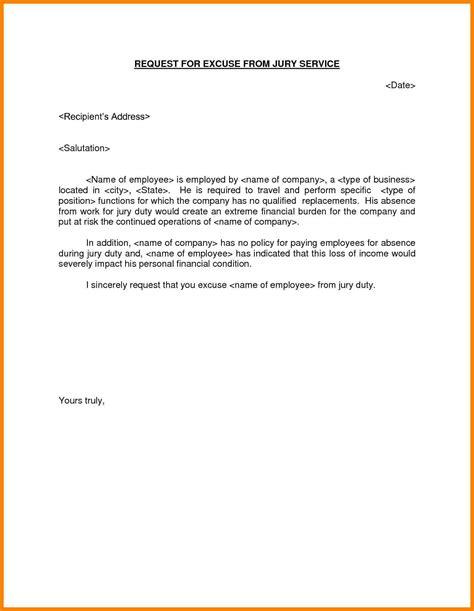 jury duty excuse letter jury duty excuse letter template