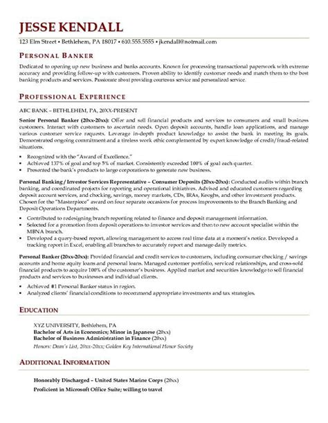 personal banker resume objectives resume sle writing
