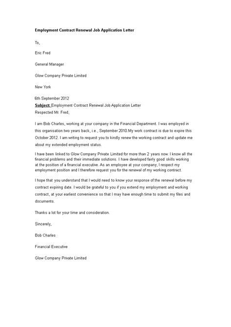 Gratis Employment Contract Renewal Job Application Letter