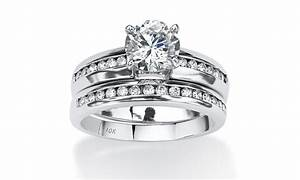 2 piece 190 tcw cz bridal ring set 10k white gold groupon With 10k white gold cz wedding ring sets