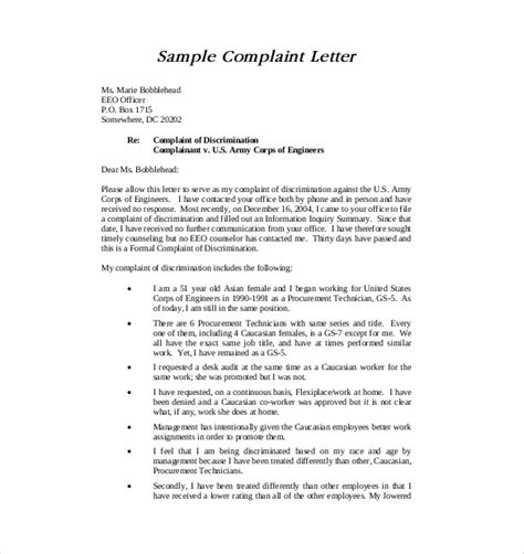 letter  complaint template   word