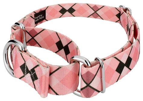 Buy Pink and Brown Argyle Martingale Dog Collar Online