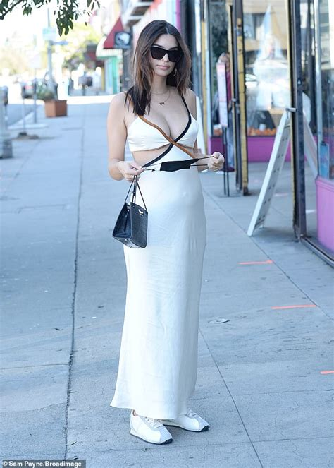 Emily Ratajkowski looks ethereal in silk dress with cut ...