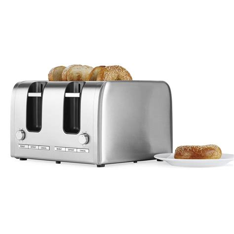 Stainless Steel 4 Slice Toaster by Contempo 4 Slice Stainless Steel Toaster Big W