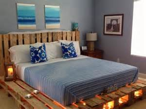 King Platform Bed Plans by Wooden Pallet Bed With Lights Pallet Wood Projects