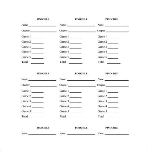 Pinochle Deck Sheet by Sle Pinochle Score Sheet 6 Exles Format