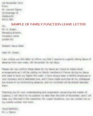 family function leave letter sample