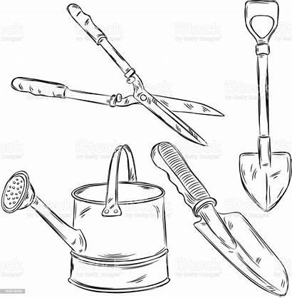 Tools Gardening Drawings Garden Detailed Outils Jardinage