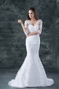 white wedding dresses 2014 new lace wedding dresses sheath column half sleeve v neck white bridal gowns bo000151