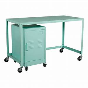 Industrial Collection Metal Rolling Desk/Cabinet Set ...
