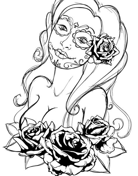 Create a Tattoo Style, Grunge, Day of Dead Girl Poster in
