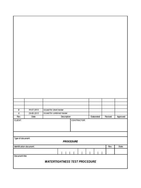 Watertightness Test Procedure | Leak | Welding