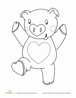 valentines day pig coloring page projects