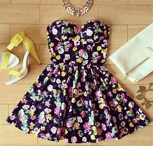 Dress: floral, skater dress, cute dress, girly, feminine ...