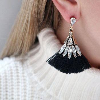 Jewelled black tassel earrings by junk jewels | notonthehighstreet.com