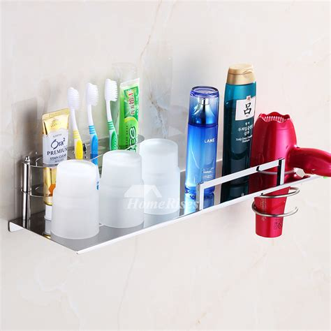 modern wall mount silver stainless steel toothbrush holder