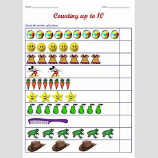 Kindergarten Worksheets Counting Worksheets  Count The Number Of Pictures (up To 10