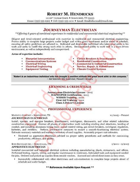 electrician resume sle