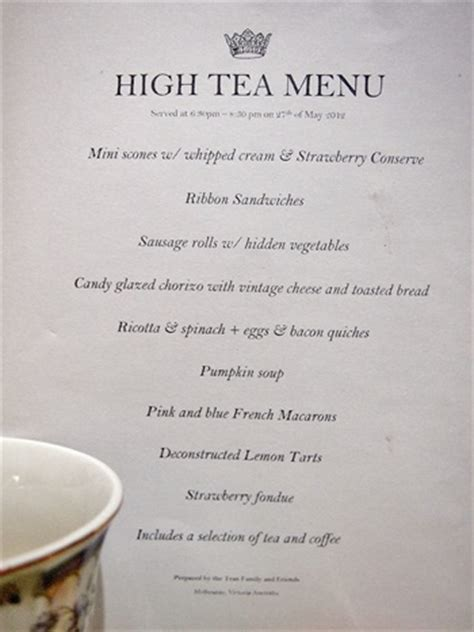 high tea menu fat pom pom high tea at my house