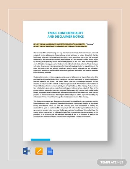 email confidentiality  disclaimer notice template