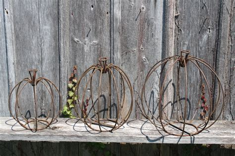 3 sizes to decorate metal pumpkins fall decor
