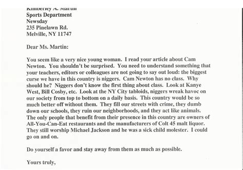 Jets Beat Writer Received This Racist Letter From A Reader About Her Cam Newton Article Daily