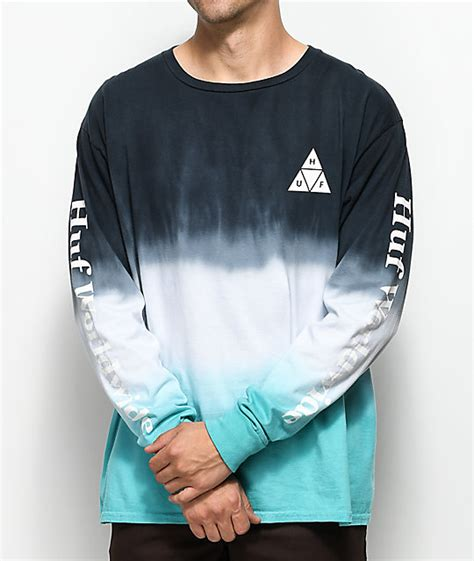 Huf Dip Dyed Aqua And White Long Sleeve T Shirt Zumiez