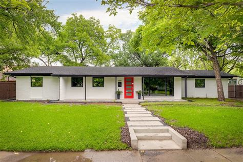 painted brick ranch exterior midcentury with curb appeal mount mailboxes