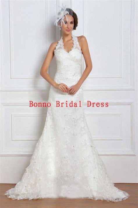 gorgeous mermaid halter lace wedding dress  spring