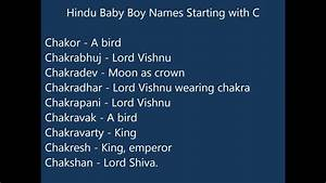 Indian Hindu Baby Boy Names starting with C - YouTube