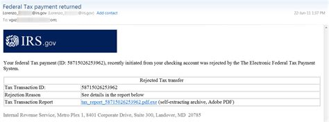 irs eftps payment rejected emails lead  malware