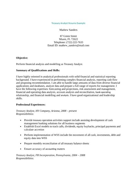 professional treasury analyst resume template