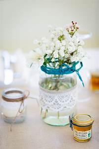 Pot En Verre Deco : d co de table chemin de table en lin bougies et fleurs ~ Melissatoandfro.com Idées de Décoration