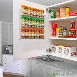 Etagere De Rangement Cuisine : 24pc chrom 3 tag re rangement pour pices pots pour mural ou placard cuisine cuisine ~ Melissatoandfro.com Idées de Décoration