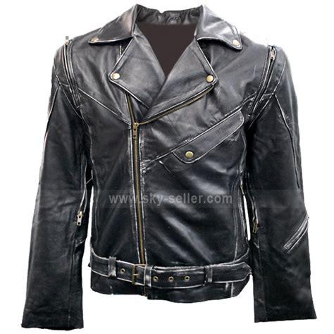 black motorbike jacket terminator 2 black motorcycle leather jacket