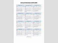 School Calendars 2019 2020 Calendar from August 2019 to