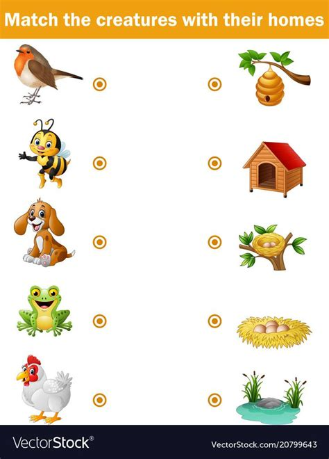 vector illustration  matching game  children animals