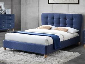 Tete De Lit Bleu : lit elide sommier t te de lit capitonn e tissu 140 190cm ~ Premium-room.com Idées de Décoration