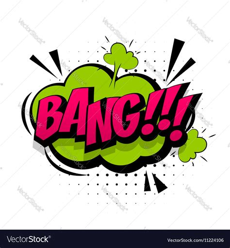 Comic Green Sound Effects Pop Art Word Bang Vector Image