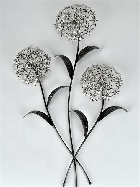 wanddeko wandbild pusteblume blumenzweig metall silber 74 cm formano ebay